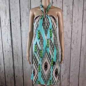 Jennifer Lopez multi colored bold print dress